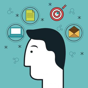 Głowa ludzka profil ikona myśl