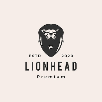 Głowa lwa hipster vintage logo ikona ilustracja