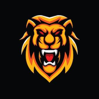 Głowa lwa ilustracja na czarnym tle