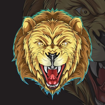 Głowa lwa ilustracja na tatuaż