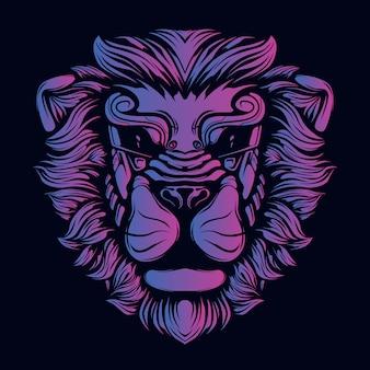 Głowa lwa ozdobne oczy grafika