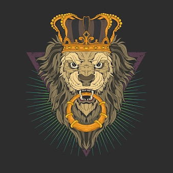Głowa lwa z grafiką ilustracyjną korony