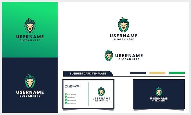 Głowa lwa z liśćmi natury lub liśćmi koncepcja projektowania logo i szablon wizytówki