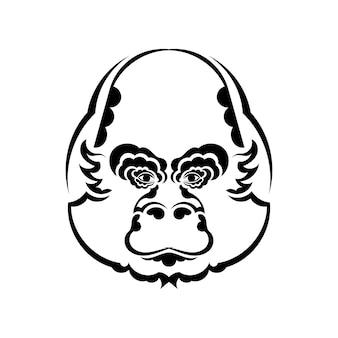 Głowa małpy kolorowanie ilustracji książki. czarno-białe linie. nadruk na koszulki i kolorowanki.