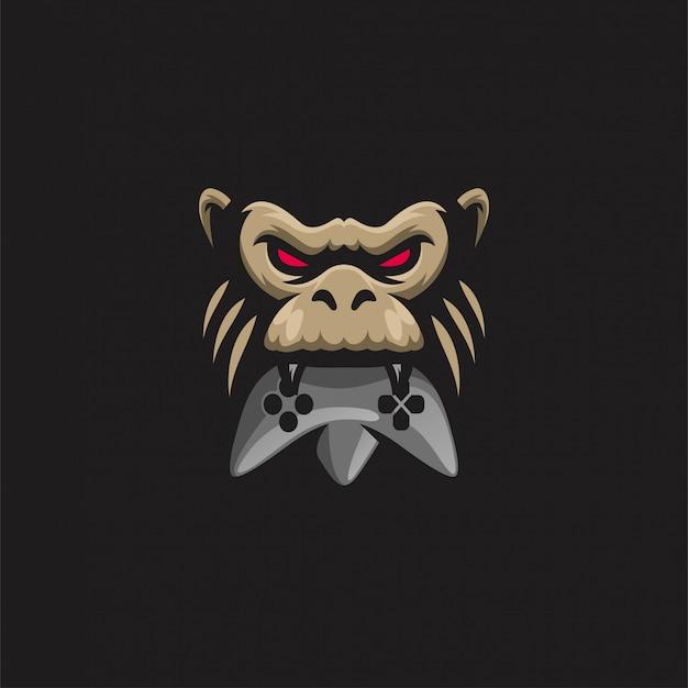 Głowa małpy logo gier