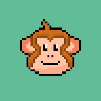 Głowa małpy w stylu pixel art