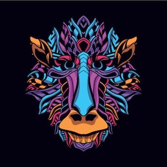 Głowa małpy z abstrakcyjnego blasku neonowego koloru