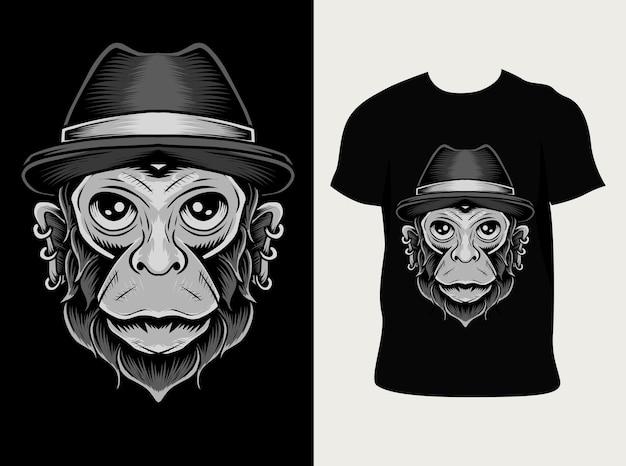 Głowa małpy z projektem koszulki