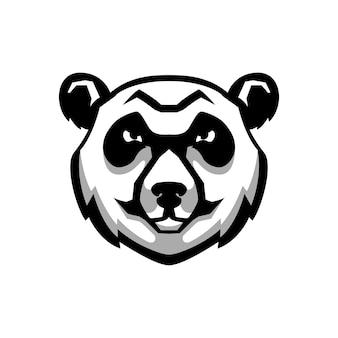 Głowa miś panda znak na białym tle. element na logo, etykietę, godło, plakat, koszulkę. wizerunek