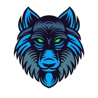 Głowa niebieskich wilków