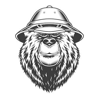 Głowa niedźwiedzia explorer w czapce safari