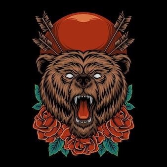 Głowa niedźwiedzia ilustracja z różanym ornamentem