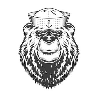 Głowa niedźwiedzia mariner w czapce marynarskiej