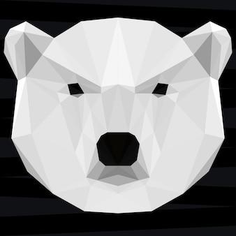 Głowa niedźwiedzia polarnego. tło tematu życia przyrody i zwierząt. abstrakcyjny wzór geometryczny wielokątny trójkąt biały niedźwiedź na projekt t-shirt, karty, zaproszenia, plakat, baner, afisz, okładka billboardu