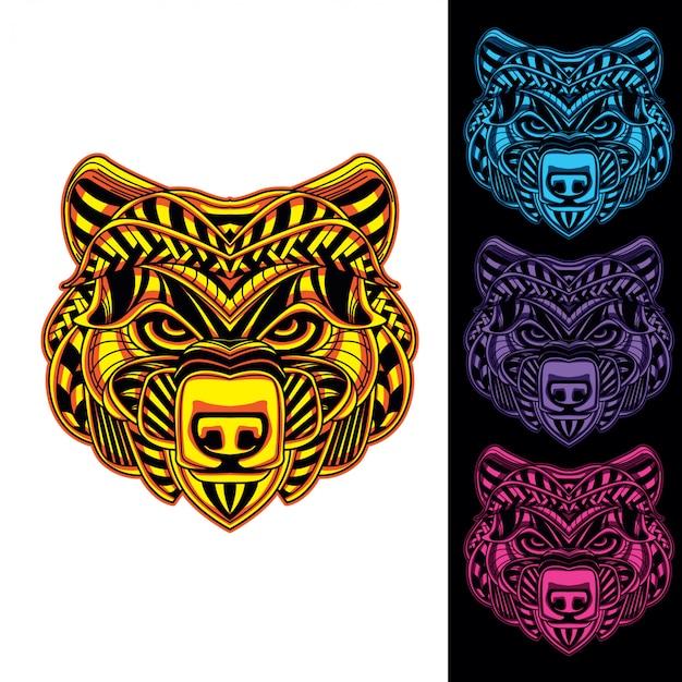 Głowa niedźwiedzia świeci w ciemnym zestawie
