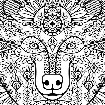 Głowa niedźwiedzia w stylu etnicznym z czarno-biały ornament kwiatowy.