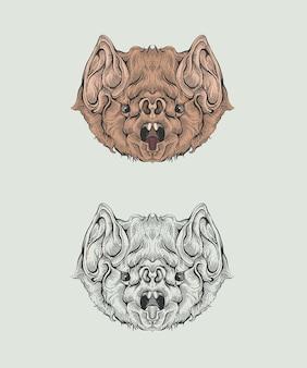 Głowa nietoperza w rysunku