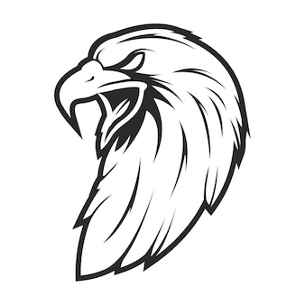 Głowa orła styl vintage na białym tle