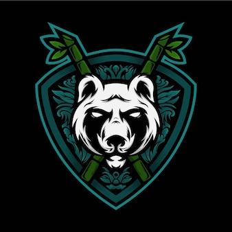 Głowa panda maskotka ilustracja