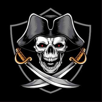 Głowa pirata czaszki z mieczem