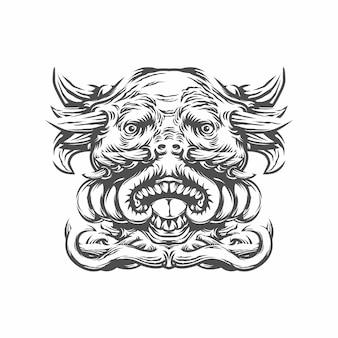 Głowa potwora z rogami