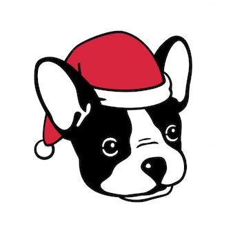 Głowa psa buldog francuski nosić czapkę świętego mikołaja