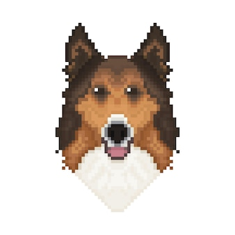 Głowa psa collie w stylu pixel art