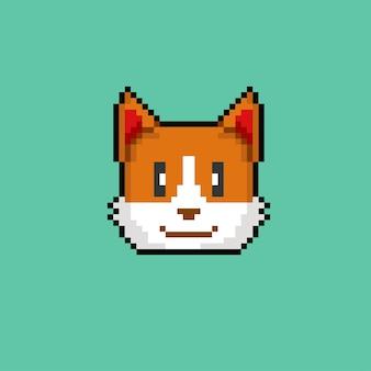 Głowa psa corgie w stylu pixel art