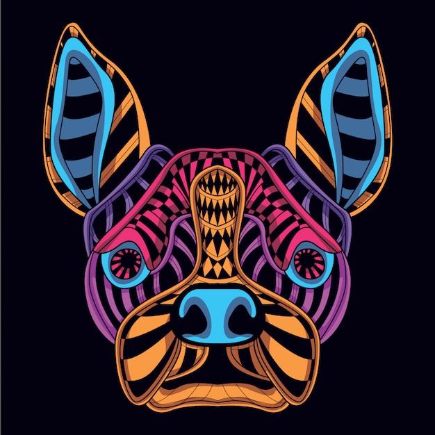 Głowa psa z blasku neonowego koloru