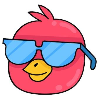 Głowa ptaka noworodka w niebieskich okularach, wektor ilustracja karton emotikon. doodle rysunek ikona