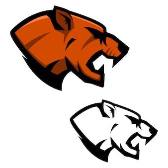 Głowa pumy. szablon maskotki drużyny sportowej. element na logo, etykietę, godło, znak. ilustracja