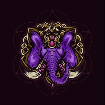 Głowa purpurowego słonia z ręcznie rysowane ilustracja złota mandali