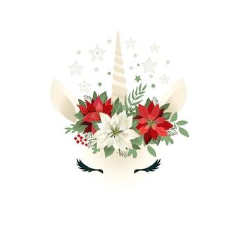 Głowa ręcznie rysowane jednorożca z wieniec kwiatowy