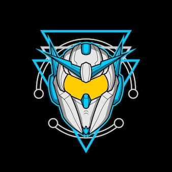 Głowa robota 012 o świętej geometrii