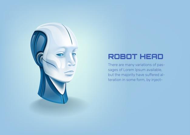 Głowa robota cyborg, ai futurystyczny humanoidalny charakter. sztuczna inteligencja