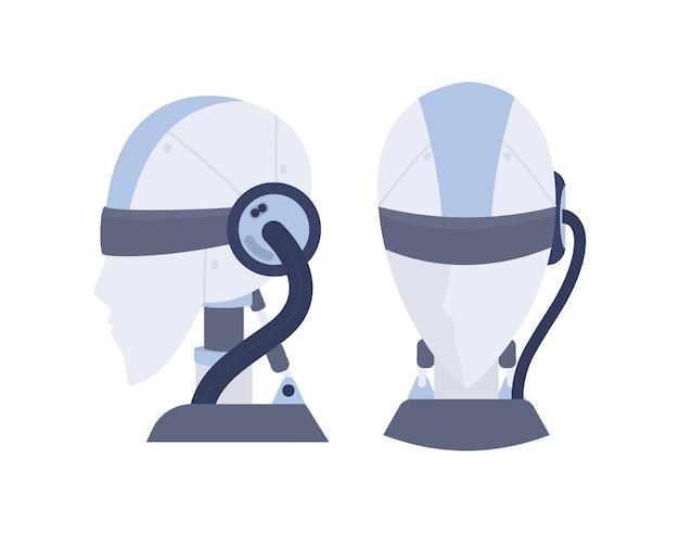 Głowa robota. koncepcja sztucznej inteligencji. futurystyczna technologia. postęp nauki i rzeczywistość wirtualna. idea uczenia maszynowego. ilustracja