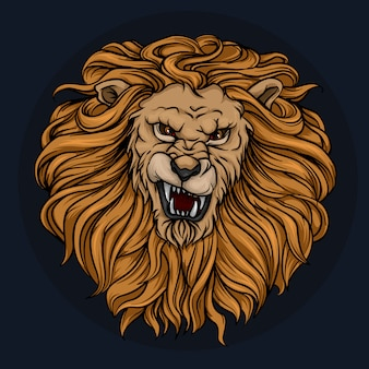 Głowa ryczącego lwa z grzywą