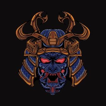 Głowa samurai ilustracja wojownik