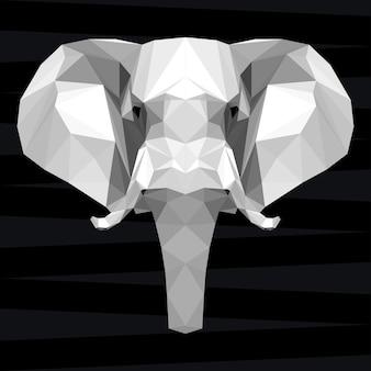 Głowa słonia. tło tematu życia przyrody i zwierząt. abstrakcyjny wzór geometryczny słoń wielokątny trójkąt na projekt t-shirt, karty, zaproszenia, plakat, baner, afisz, okładka billboardu