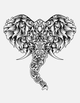 Głowa słonia w stylu ornamentu