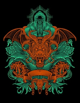 Głowa smoka z dwoma tygrysami na antycznym stylu ornamentu
