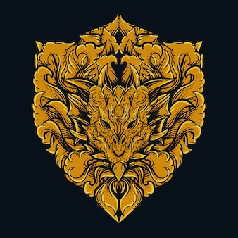 Głowa smoka złoty grawerowany ornament