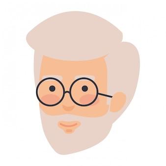 Głowa stary człowiek z brodą i szkłami avatar charakter