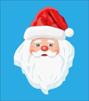 Głowa świętego mikołaja z brodą i czerwonym kapeluszem. dekoracja szczęśliwego nowego roku. wesołych świąt bożego narodzenia. nowy rok i święta bożego narodzenia.