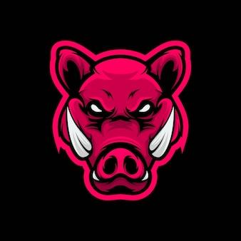 Głowa świni maskotka ilustracja