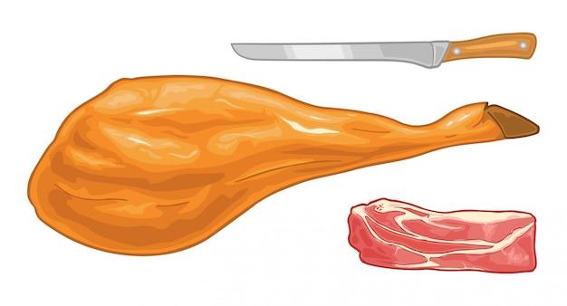 Głowa świni, noga jamon na poziomym stojaku z drewna.
