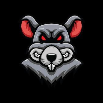 Głowa szczura ilustracja na czarnym tle