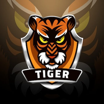 Głowa tygrysa na tarczy esport logo