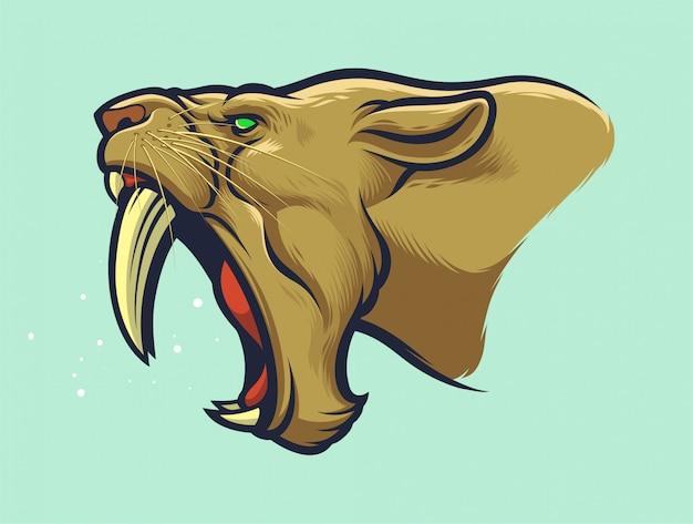 Głowa tygrysa sabertooth do projektowania łatek lub logo drużyn sportowych