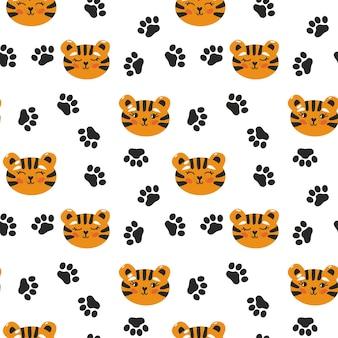 Głowa tygrysa wzór z śladami. fajny, powtarzalny nadruk dla dziecka. ilustracja wektorowa.